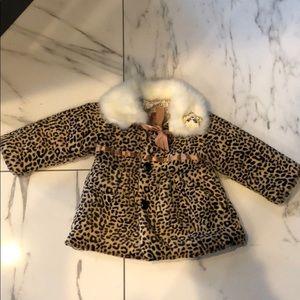 Jackets & Blazers - Boutique girls size 5 /6 furry cheetah coat.
